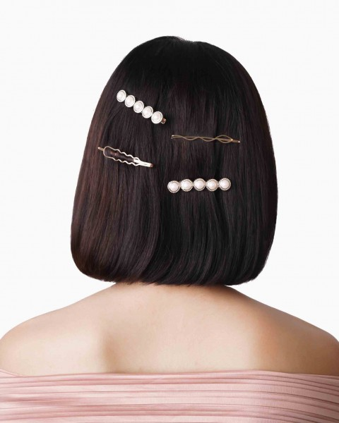 4 Pack Hair Clips With Pearl