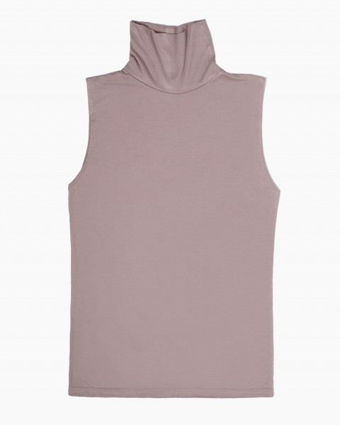 Pou Turtlneck Top Sleeveless in Taupe
