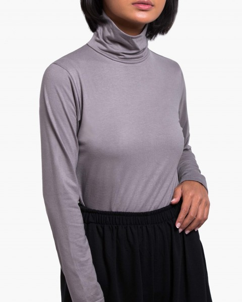 Pou Turtleneck Top Long Sleeves in Grey
