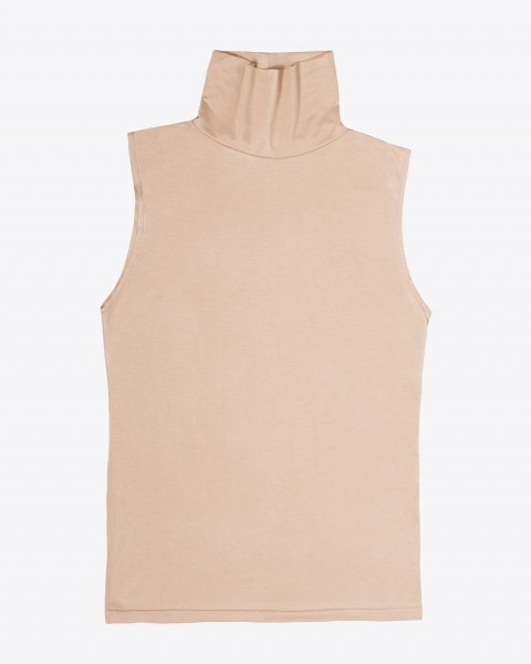 Pou Turtleneck Top Sleeveless in Cream