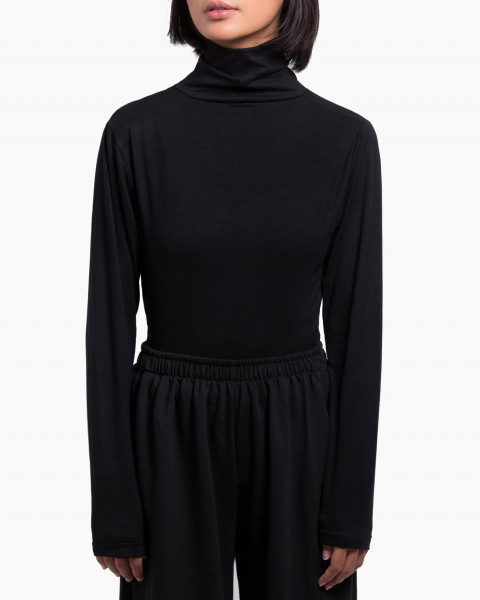 Pou Turtleneck Top Long Sleeves in Black