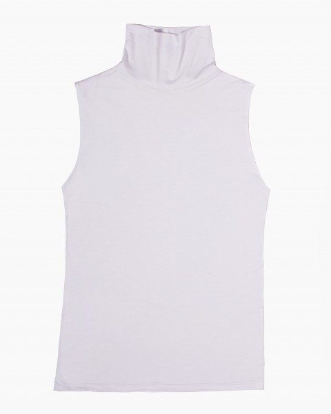 Pou Turtleneck Top Sleeveless in White