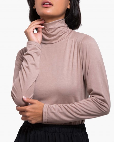 Pou Turtleneck Top Long Sleeves in Taupe