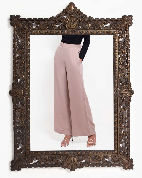 Basic Wide Leg Trousers in Coffee