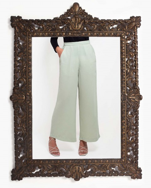 Basic Wide Leg Trousers in Matcha