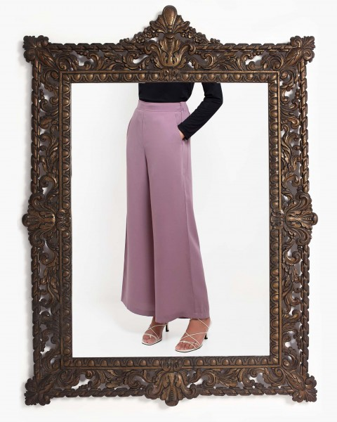 Basic Wide Leg Trousers in Taro
