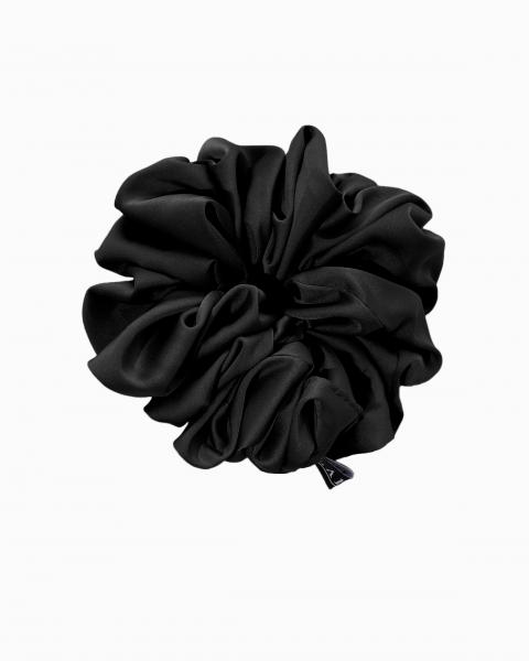 Silk Scrunchie Mini in Obsidian