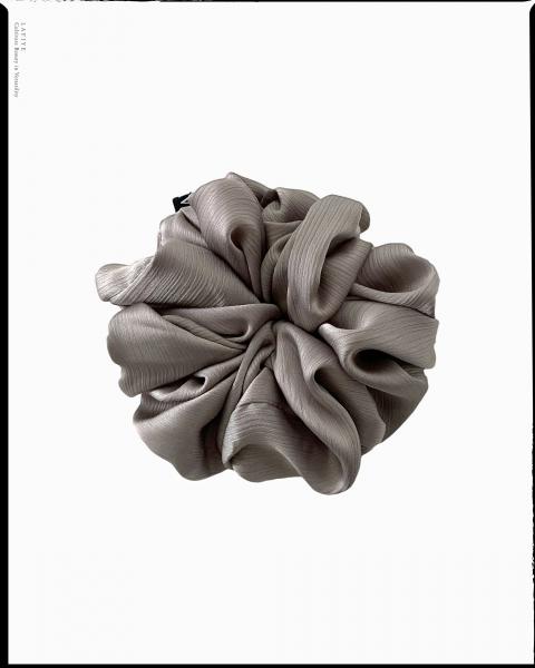 Textured Silk Scrunchie in Moonshine