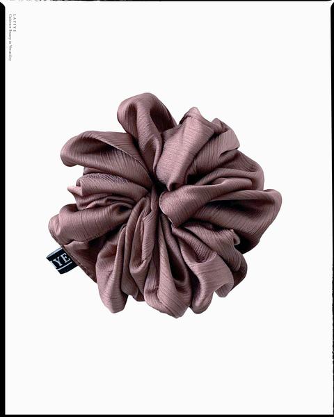 Textured Silk Scrunchie in Plum